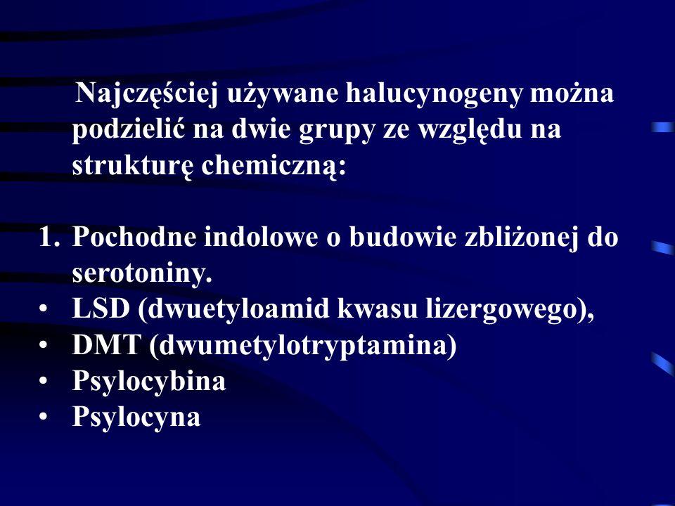Najczęściej używane halucynogeny można podzielić na dwie grupy ze względu na strukturę chemiczną: 1.Pochodne indolowe o budowie zbliżonej do serotoniny.