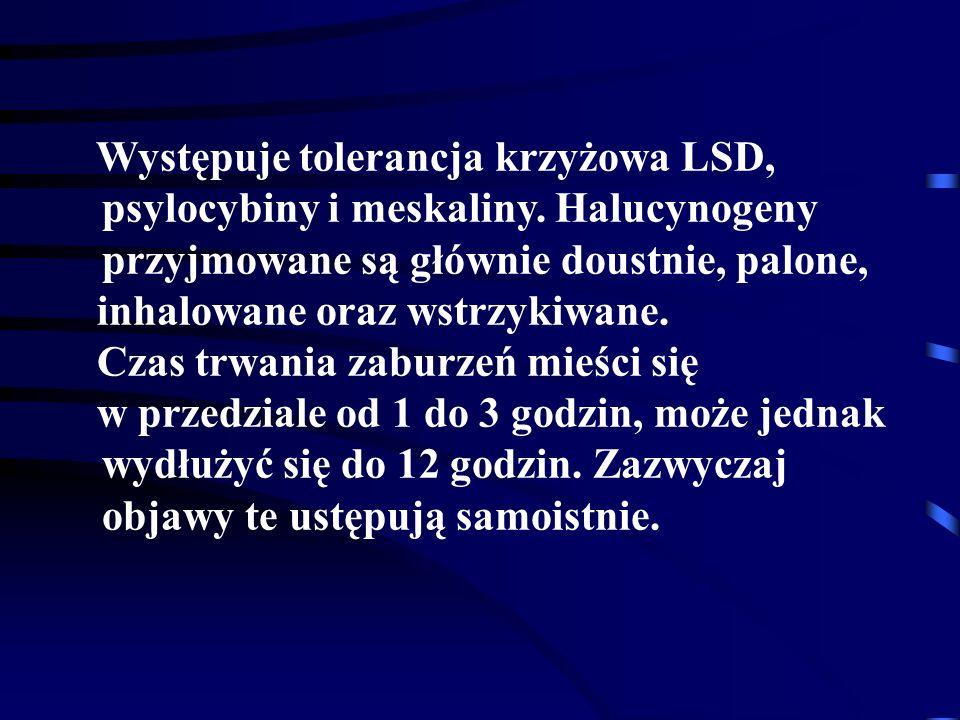 Występuje tolerancja krzyżowa LSD, psylocybiny i meskaliny.