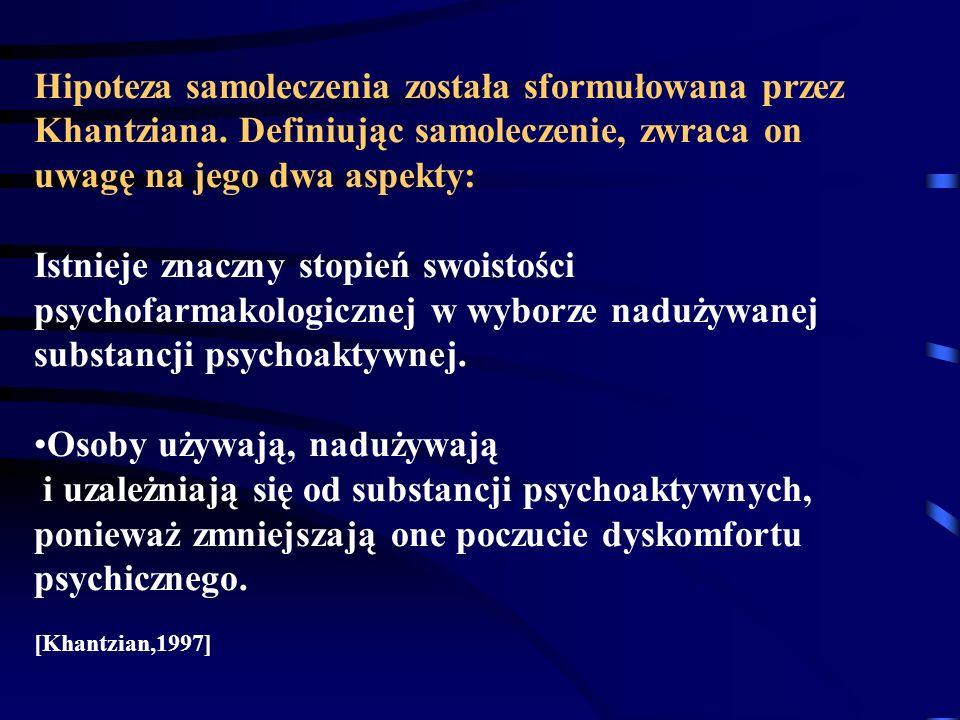 Hipoteza samoleczenia została sformułowana przez Khantziana.