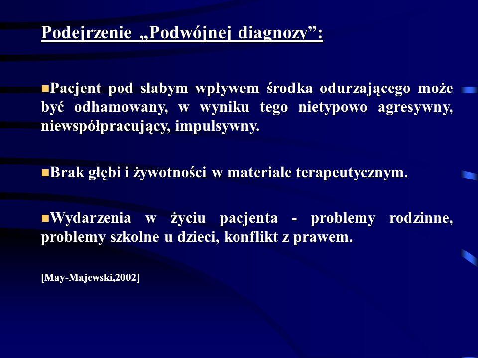 Podejrzenie Podwójnej diagnozy: Pacjent pod słabym wpływem środka odurzającego może być odhamowany, w wyniku tego nietypowo agresywny, niewspółpracujący, impulsywny.