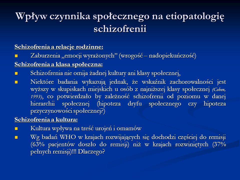 Wpływ czynnika społecznego na etiopatologię schizofrenii Schizofrenia a relacje rodzinne: Zaburzenia emocji wyrażonych (wrogość – nadopiekuńczość) Zab
