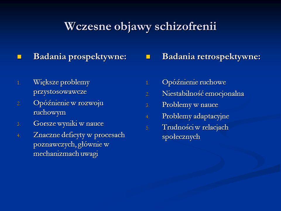 Wczesne objawy schizofrenii Badania prospektywne: Badania prospektywne: 1. Większe problemy przystosowawcze 2. Opóźnienie w rozwoju ruchowym 3. Gorsze