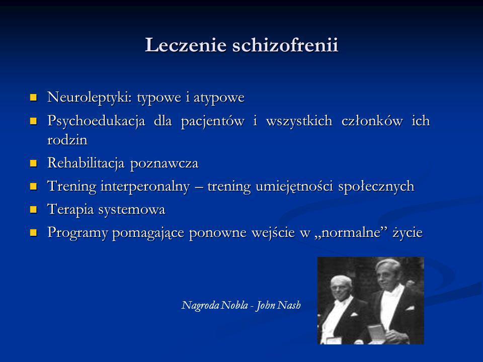 Leczenie schizofrenii Neuroleptyki: typowe i atypowe Neuroleptyki: typowe i atypowe Psychoedukacja dla pacjentów i wszystkich członków ich rodzin Psyc