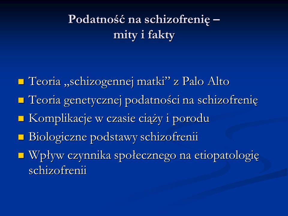 Podatność na schizofrenię – mity i fakty Teoria schizogennej matki z Palo Alto Teoria schizogennej matki z Palo Alto Teoria genetycznej podatności na