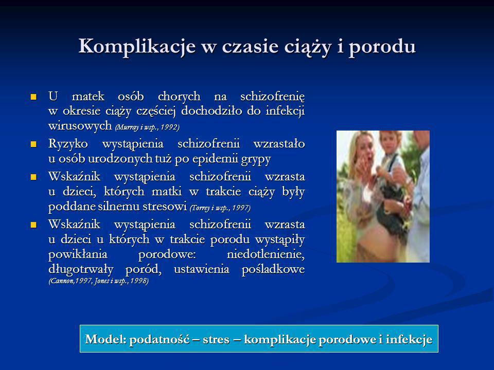 Komplikacje w czasie ciąży i porodu U matek osób chorych na schizofrenię w okresie ciąży częściej dochodziło do infekcji wirusowych (Murray i wsp., 19