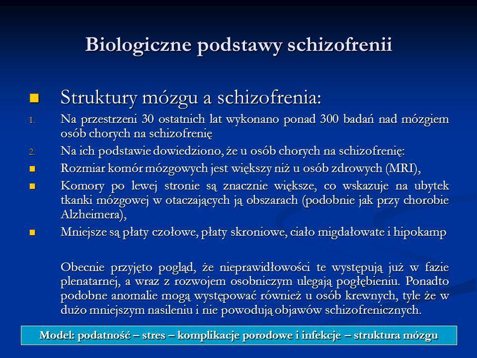 Biologiczne podstawy schizofrenii Struktury mózgu a schizofrenia: Struktury mózgu a schizofrenia: 1. Na przestrzeni 30 ostatnich lat wykonano ponad 30