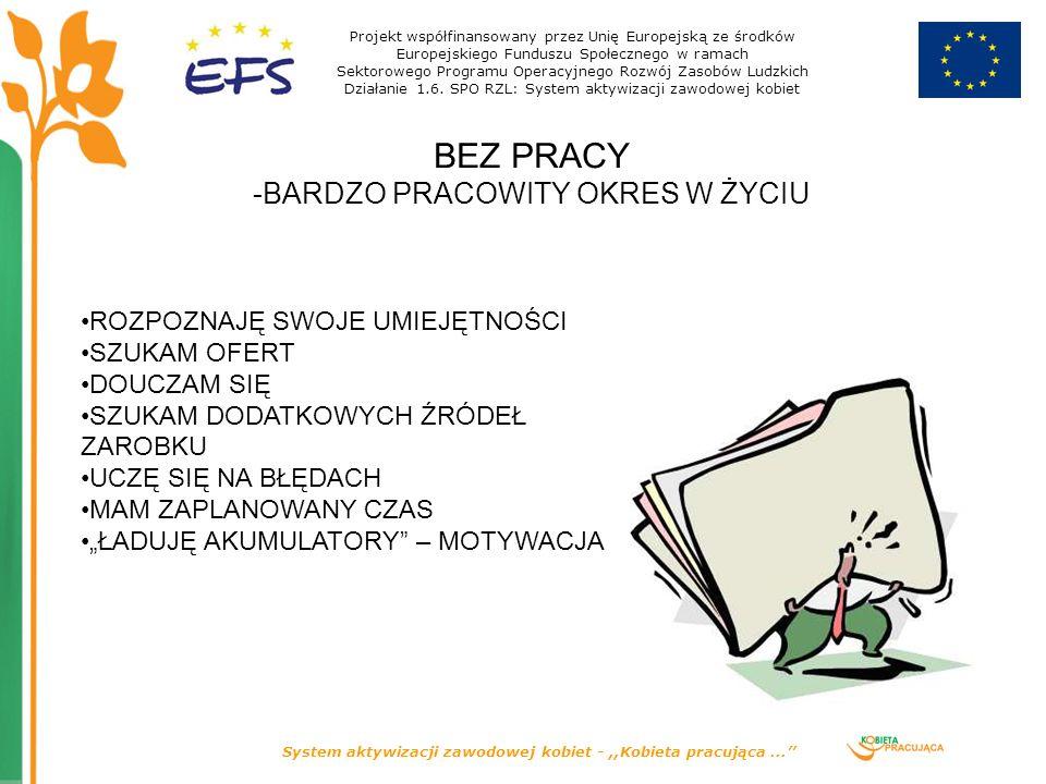 System aktywizacji zawodowej kobiet -,,Kobieta pracująca... BEZ PRACY -BARDZO PRACOWITY OKRES W ŻYCIU Projekt współfinansowany przez Unię Europejską z