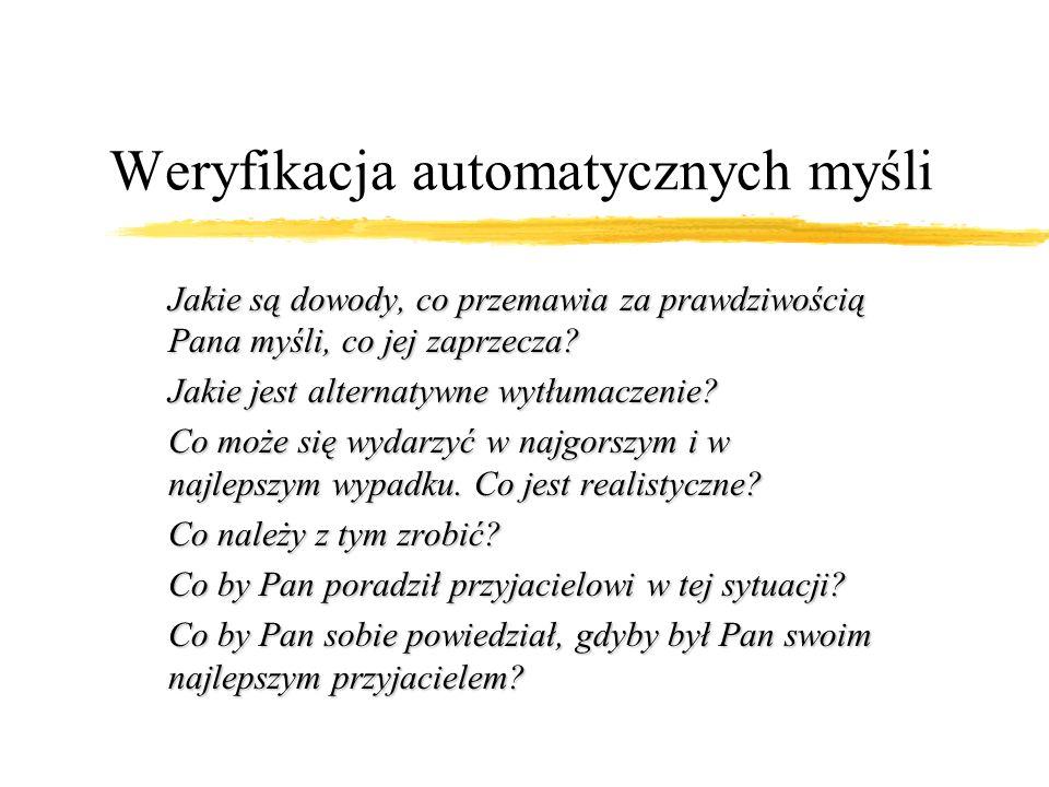 Identyfikacja automatycznych myśli c.d. zterapeuta rozpoznaje automatyczne myśli zw dialogu sokratejskim ocenia wiarygodność myśli poprzez analizę inf