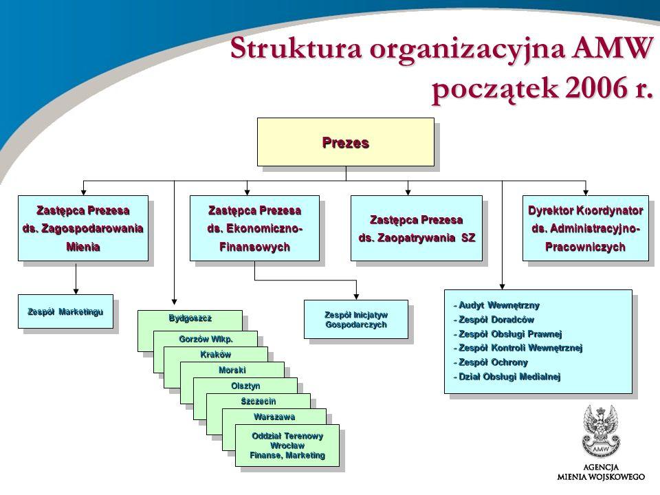 - Audyt Wewnętrzny - Zespół Doradców - Zespół Obsługi Prawnej - Zespół Ochrony - Zespół Kontroli Wewnętrznej Struktura organizacyjna AMW po zmianach w 2006 r.