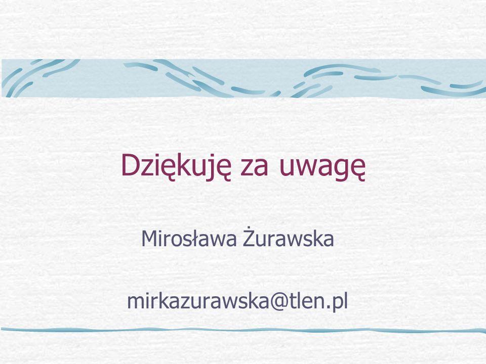 Dziękuję za uwagę Mirosława Żurawska mirkazurawska@tlen.pl