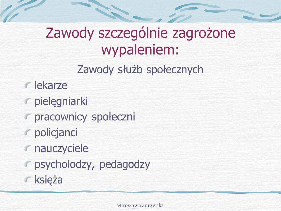 Mirosława Żurawska Zawody szczególnie zagrożone wypaleniem: Zawody służb społecznych lekarze pielęgniarki pracownicy społeczni policjanci nauczyciele psycholodzy, pedagodzy księża