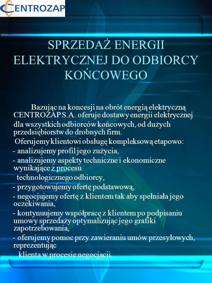 POZOSTAŁE USŁUGI ENERGETYCZNE Bardzo ważną korzyścią wynikającą ze współpracy z CENTROZAP S.A.