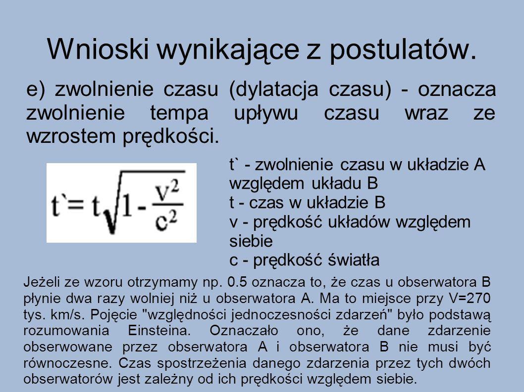 Wnioski wynikające z postulatów. e) zwolnienie czasu (dylatacja czasu) - oznacza zwolnienie tempa upływu czasu wraz ze wzrostem prędkości. t` - zwolni