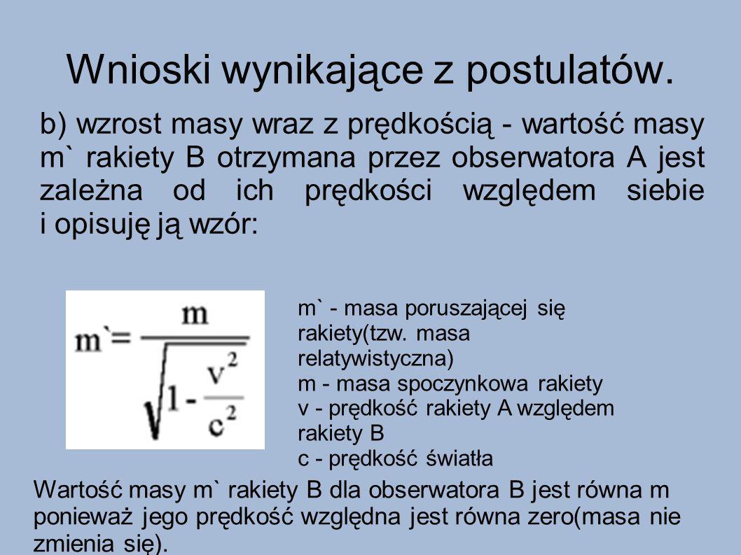 Wnioski wynikające z postulatów. b) wzrost masy wraz z prędkością - wartość masy m` rakiety B otrzymana przez obserwatora A jest zależna od ich prędko