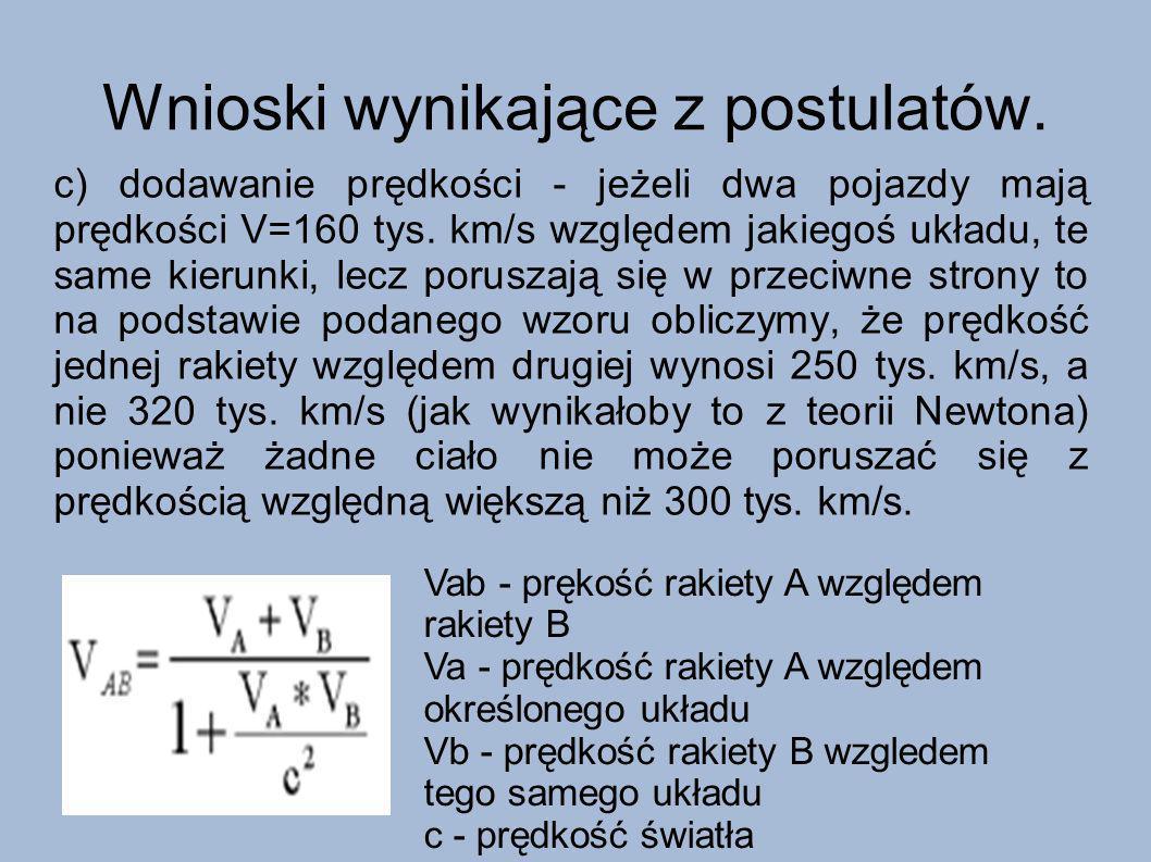 Wnioski wynikające z postulatów. c) dodawanie prędkości - jeżeli dwa pojazdy mają prędkości V=160 tys. km/s względem jakiegoś układu, te same kierunki