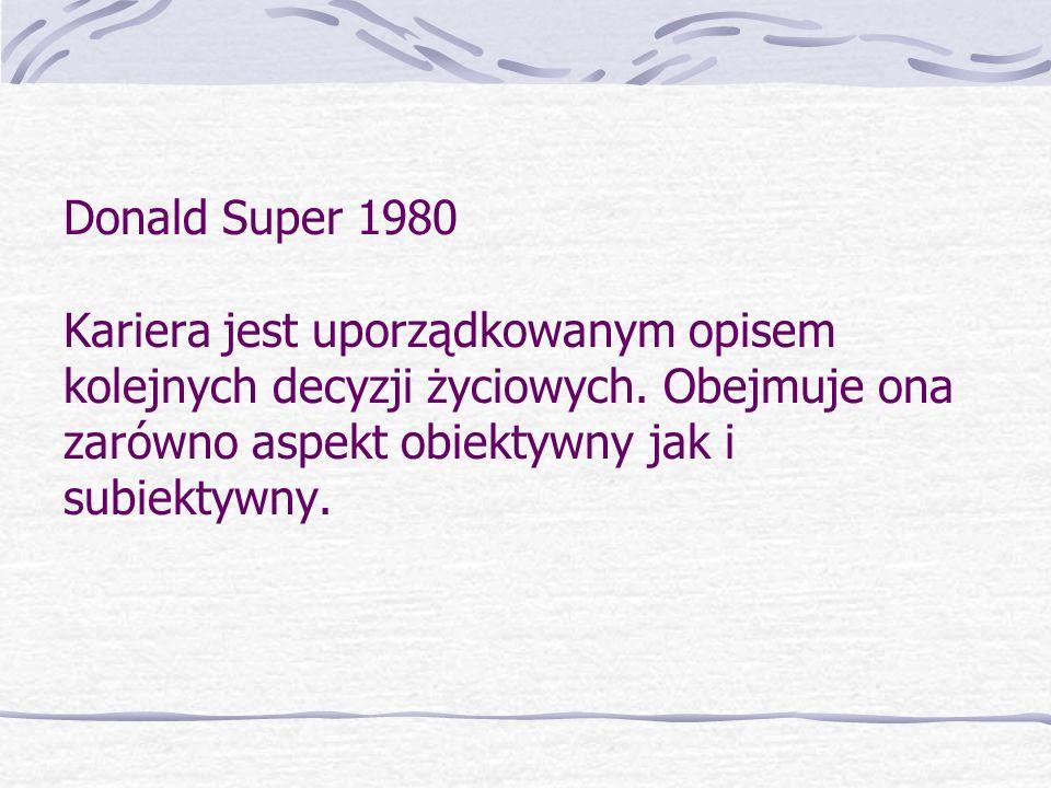 Donald Super 1980 Kariera jest uporządkowanym opisem kolejnych decyzji życiowych. Obejmuje ona zarówno aspekt obiektywny jak i subiektywny.