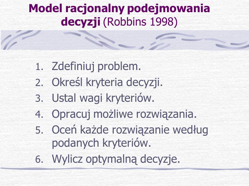 Model racjonalny podejmowania decyzji (Robbins 1998) 1. Zdefiniuj problem. 2. Określ kryteria decyzji. 3. Ustal wagi kryteriów. 4. Opracuj możliwe roz