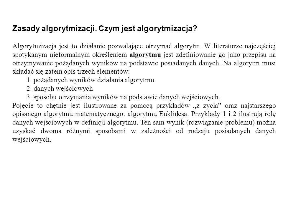 Zasady algorytmizacji. Czym jest algorytmizacja? Algorytmizacja jest to działanie pozwalające otrzymać algorytm. W literaturze najczęściej spotykanym