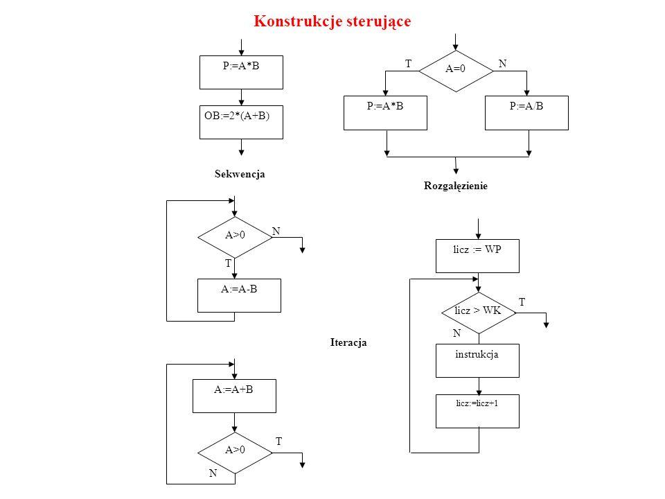 A=0A=0 P:=A*BP:=A/B Rozgałęzienie TN P:=A*B OB:=2*(A+B) Sekwencja Iteracja A>0 A:=A-B N T A>0 A:=A+B N T licz > WK licz := WP N T instrukcja licz:=lic