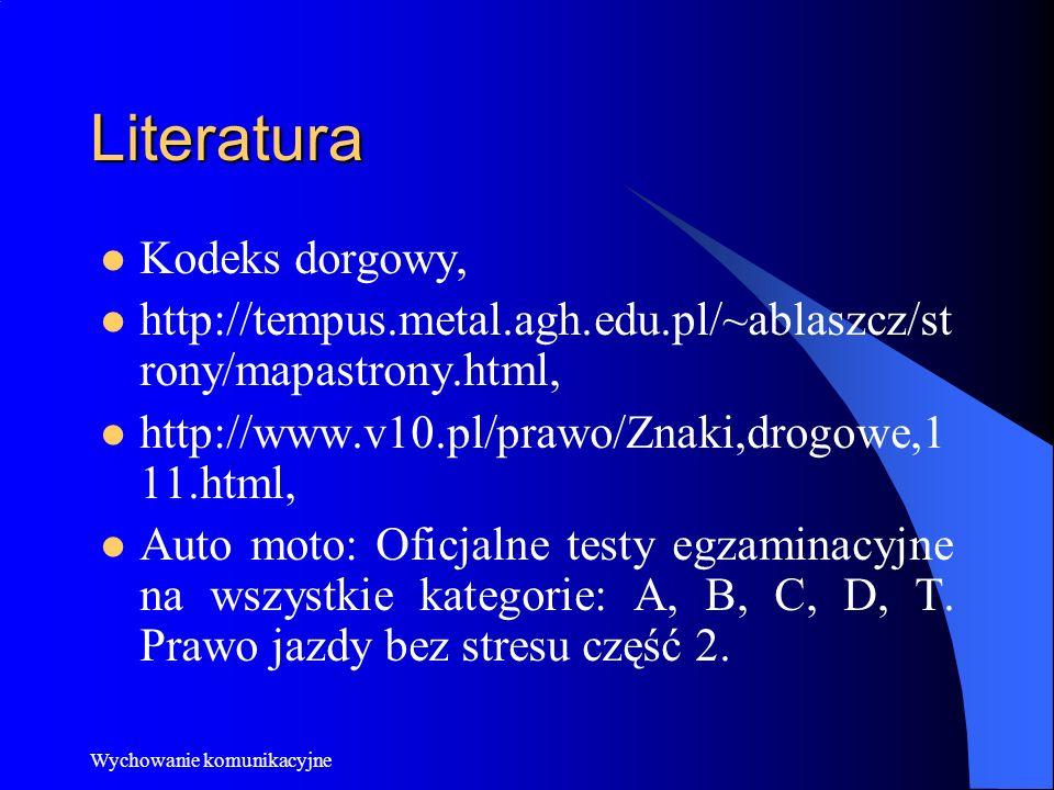 Literatura Kodeks dorgowy, http://tempus.metal.agh.edu.pl/~ablaszcz/st rony/mapastrony.html, http://www.v10.pl/prawo/Znaki,drogowe,1 11.html, Auto mot