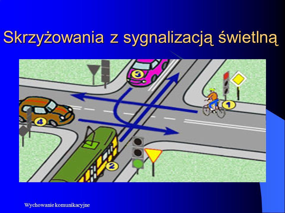 Wychowanie komunikacyjne Skrzyżowania dróg równorzędnych Na skrzyżowaniu dróg równorzędnych pierwszeństwo nie jest określone ani przez znaki drogowe ani przez sygnalizację świetlną, w związku z tym żadna z dróg nie jest ani drogą z pierwszeństwem, ani drogą podporządkowaną.