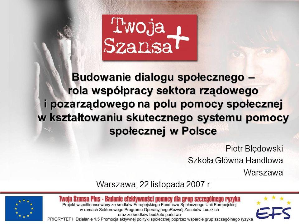 Budowanie dialogu społecznego – rola współpracy sektora rządowego i pozarządowego na polu pomocy społecznej w kształtowaniu skutecznego systemu pomocy społecznej w Polsce Piotr Błędowski Szkoła Główna Handlowa Warszawa Warszawa, 22 listopada 2007 r.