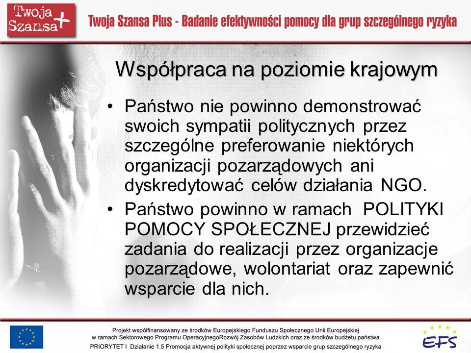 Współpraca na poziomie krajowym Państwo nie powinno demonstrować swoich sympatii politycznych przez szczególne preferowanie niektórych organizacji poz