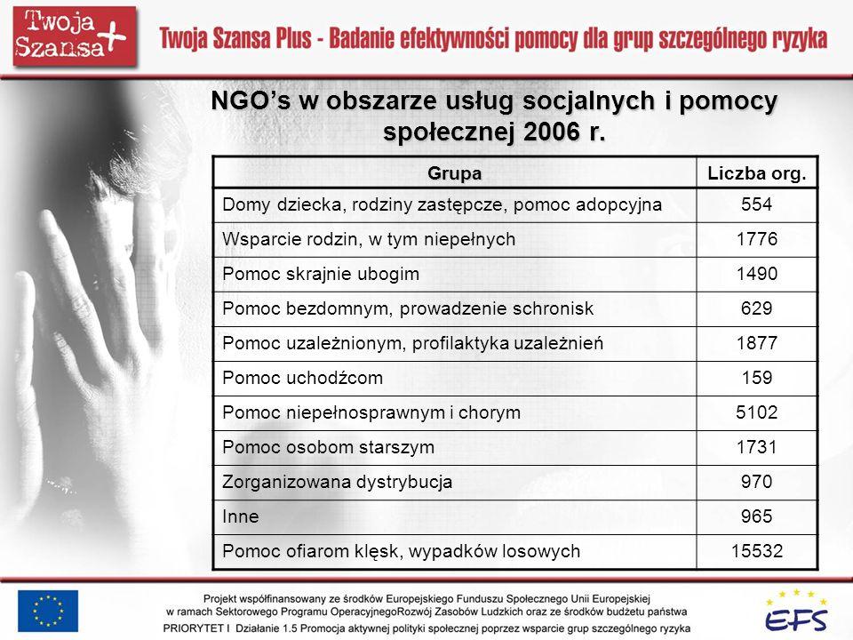 NGOs w obszarze usług socjalnych i pomocy społecznej 2006 r. GrupaLiczba org. Domy dziecka, rodziny zastępcze, pomoc adopcyjna554 Wsparcie rodzin, w t