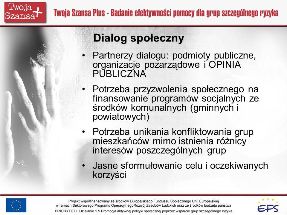 Dialog społeczny Partnerzy dialogu: podmioty publiczne, organizacje pozarządowe i OPINIA PUBLICZNA Potrzeba przyzwolenia społecznego na finansowanie p