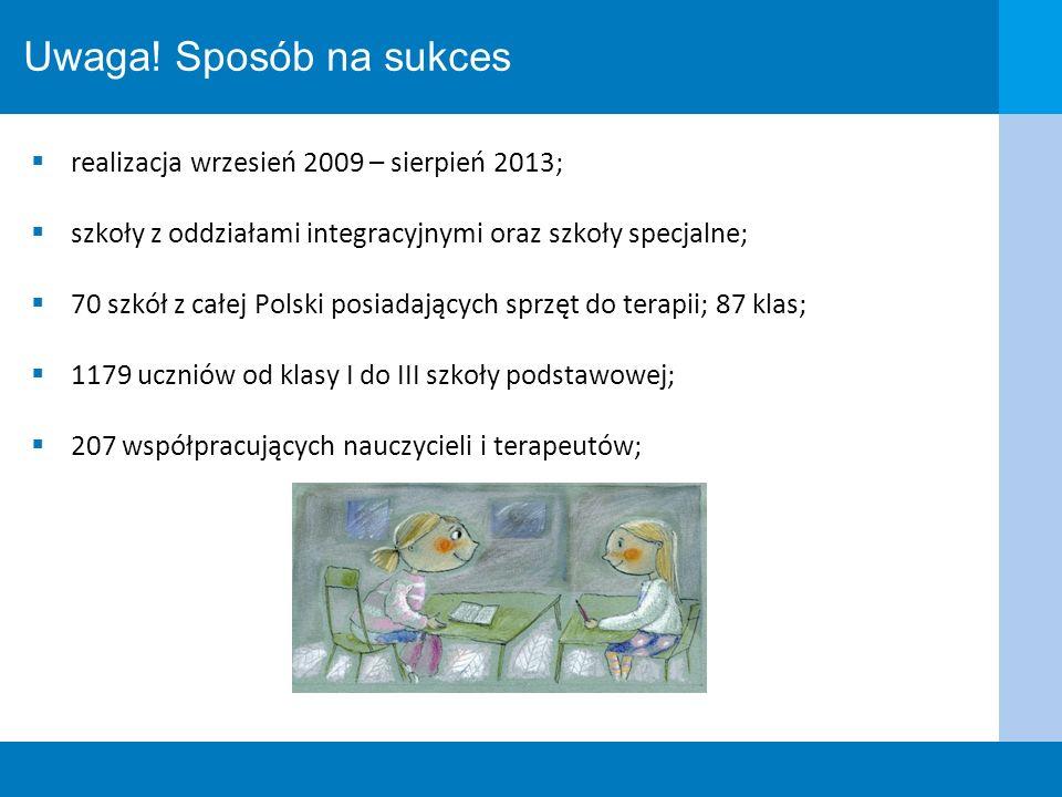 Uwaga! Sposób na sukces realizacja wrzesień 2009 – sierpień 2013; szkoły z oddziałami integracyjnymi oraz szkoły specjalne; 70 szkół z całej Polski po