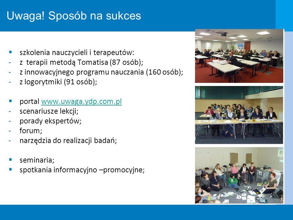 Uwaga! Sposób na sukces szkolenia nauczycieli i terapeutów: -z terapii metodą Tomatisa (87 osób); -z innowacyjnego programu nauczania (160 osób); -z l