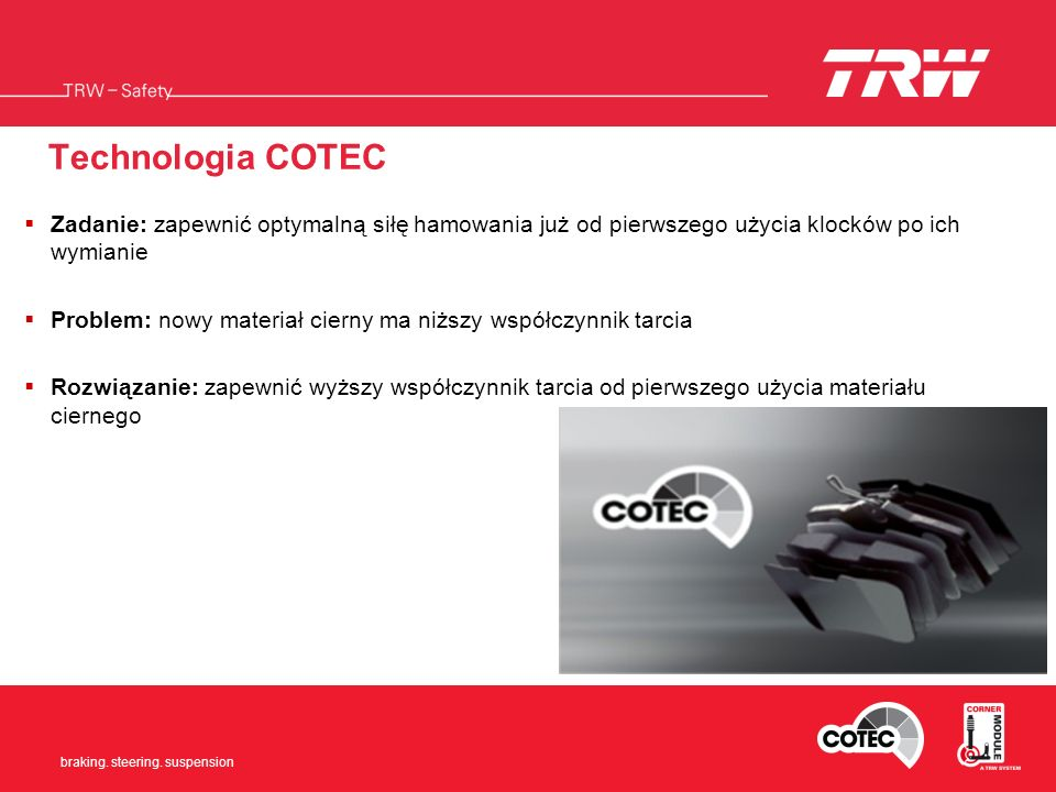 Braking. Steering. Suspension braking. steering. suspension Technologia COTEC Zadanie: zapewnić optymalną siłę hamowania już od pierwszego użycia kloc