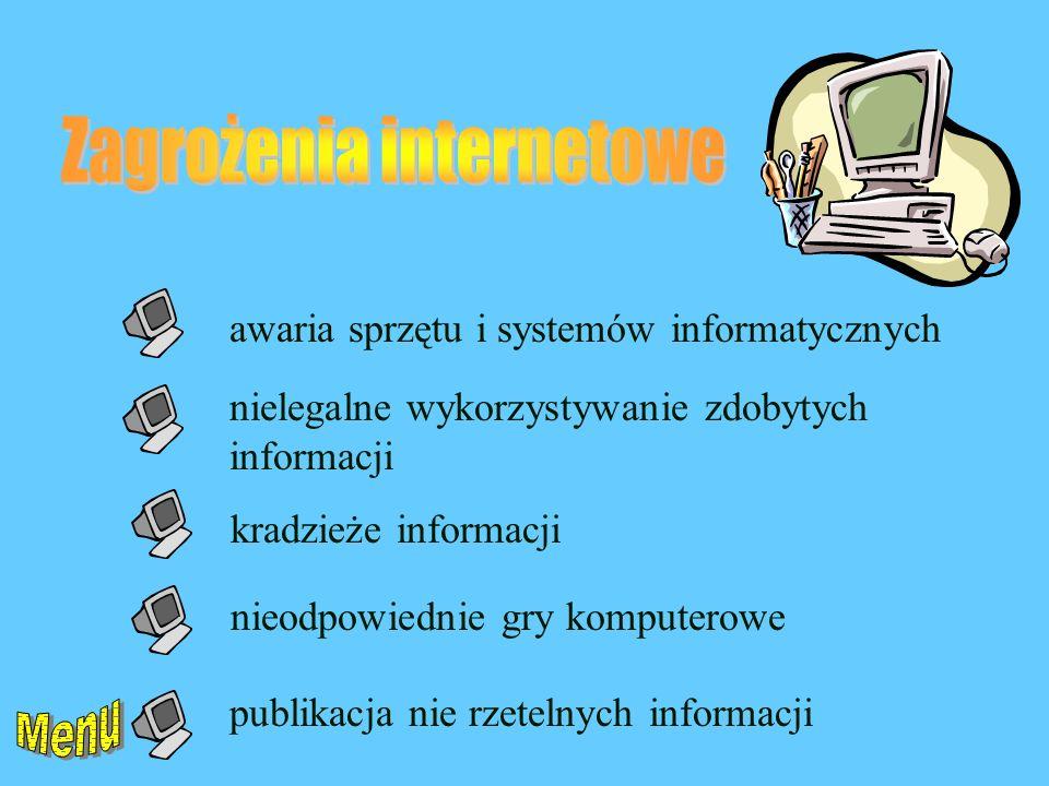 awaria sprzętu i systemów informatycznych nielegalne wykorzystywanie zdobytych informacji kradzieże informacji nieodpowiednie gry komputerowe publikacja nie rzetelnych informacji