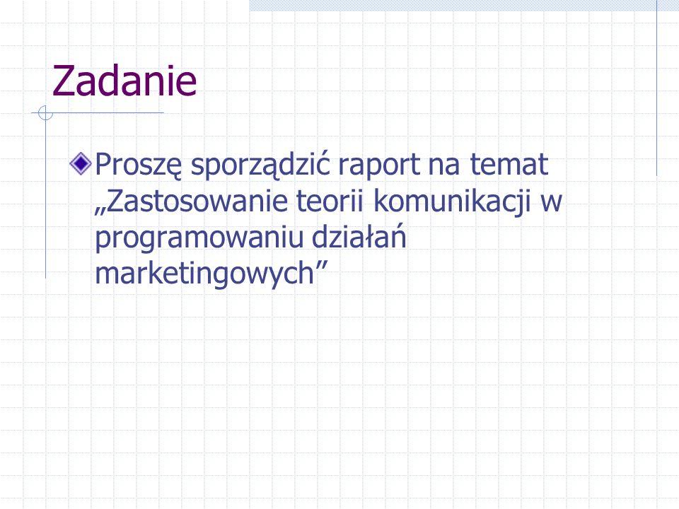 Zadanie Proszę sporządzić raport na temat Zastosowanie teorii komunikacji w programowaniu działań marketingowych