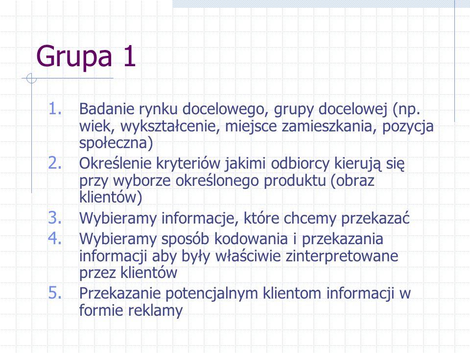 Grupa 1 1.Badanie rynku docelowego, grupy docelowej (np.