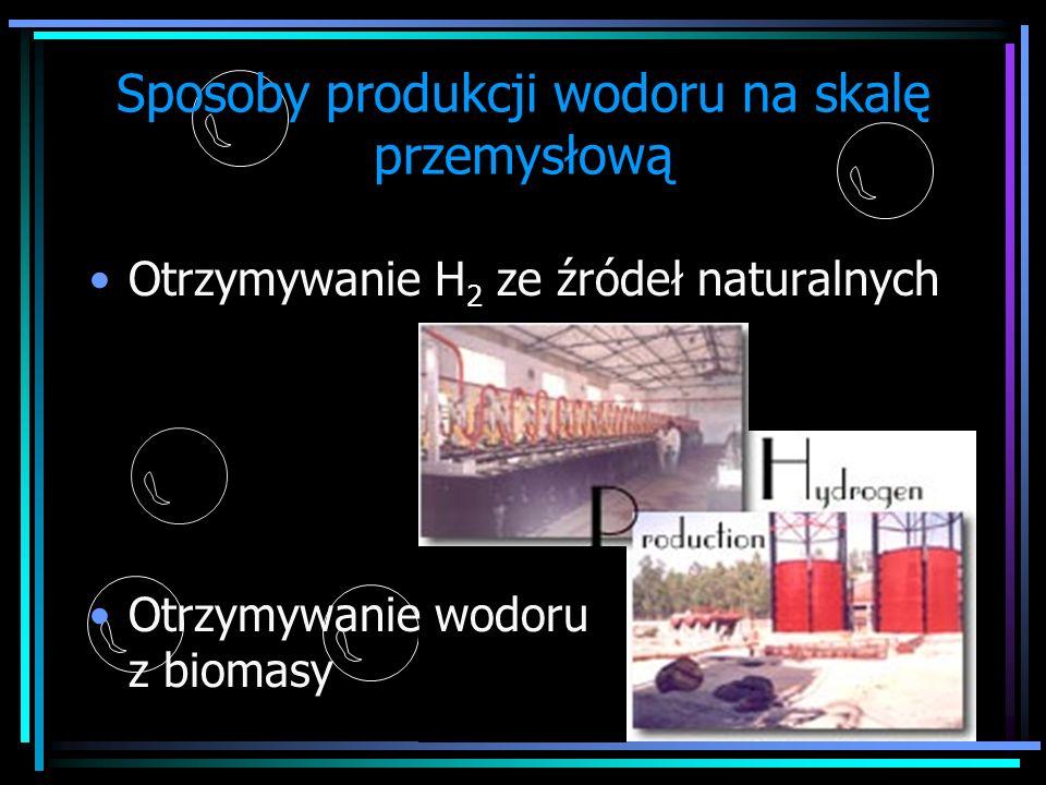 Sposoby produkcji wodoru na skalę przemysłową Otrzymywanie H 2 ze źródeł naturalnych Otrzymywanie wodoru z biomasy