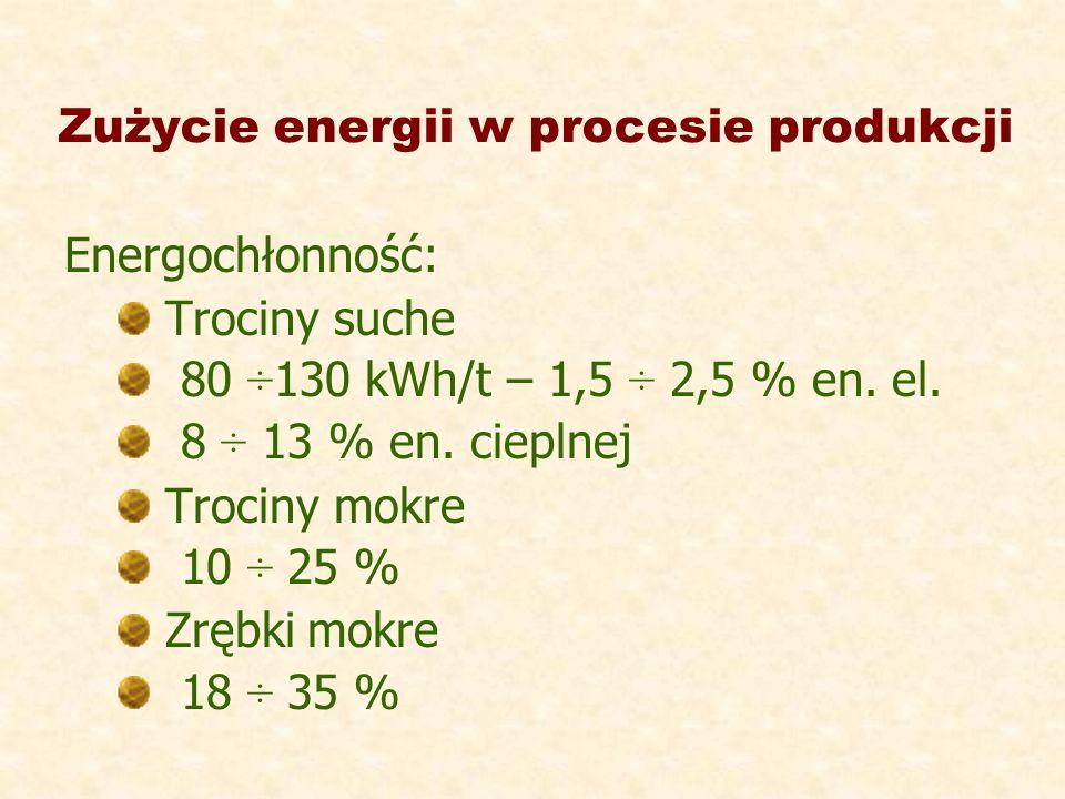 Zużycie energii w procesie produkcji Energochłonność: Trociny suche 80 ÷130 kWh/t – 1,5 ÷ 2,5 % en. el. 8 ÷ 13 % en. cieplnej Trociny mokre 10 ÷ 25 %