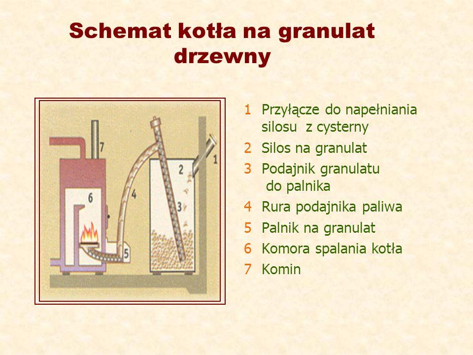 Schemat kotła na granulat drzewny 1 Przyłącze do napełniania silosu z cysterny 2 Silos na granulat 3 Podajnik granulatu do palnika 4 Rura podajnika pa