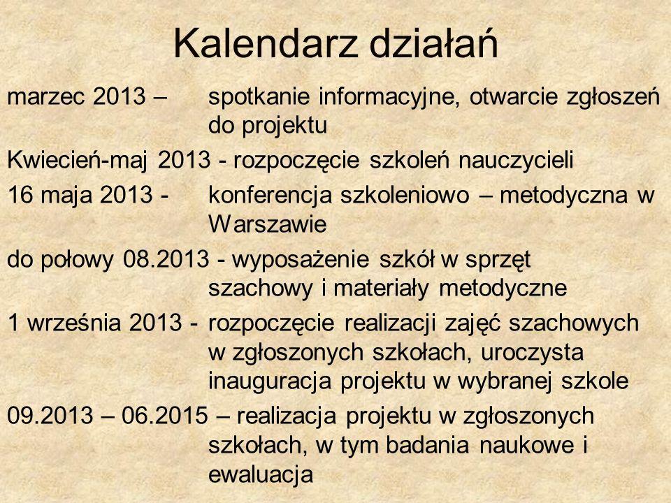 Kalendarz działań marzec 2013 – spotkanie informacyjne, otwarcie zgłoszeń do projektu Kwiecień-maj 2013 - rozpoczęcie szkoleń nauczycieli 16 maja 2013