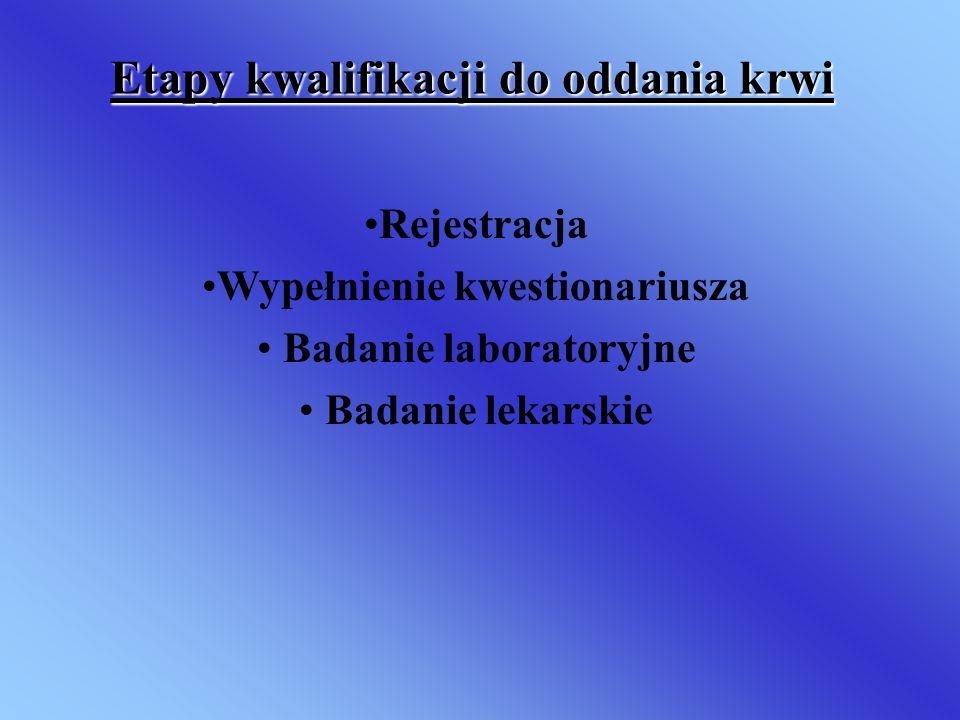 Etapy kwalifikacji do oddania krwi Rejestracja Wypełnienie kwestionariusza Badanie laboratoryjne Badanie lekarskie
