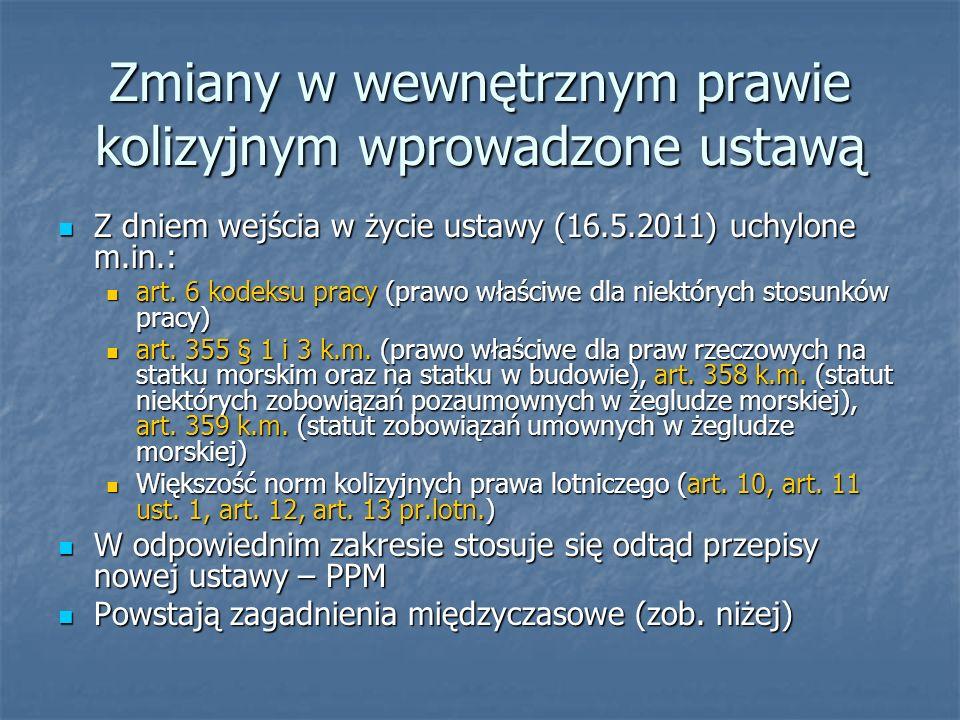 Zmiany w wewnętrznym prawie kolizyjnym wprowadzone ustawą Z dniem wejścia w życie ustawy (16.5.2011) uchylone m.in.: Z dniem wejścia w życie ustawy (1