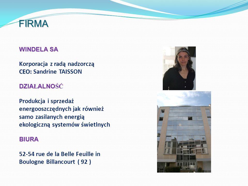 FIRMA WINDELA SA Korporacja z radą nadzorczą CEO: CEO: Sandrine TAISSON DZIA Ł ALNO ŚĆ Produkcja i sprzedaż energooszczędnych jak również samo zasilan