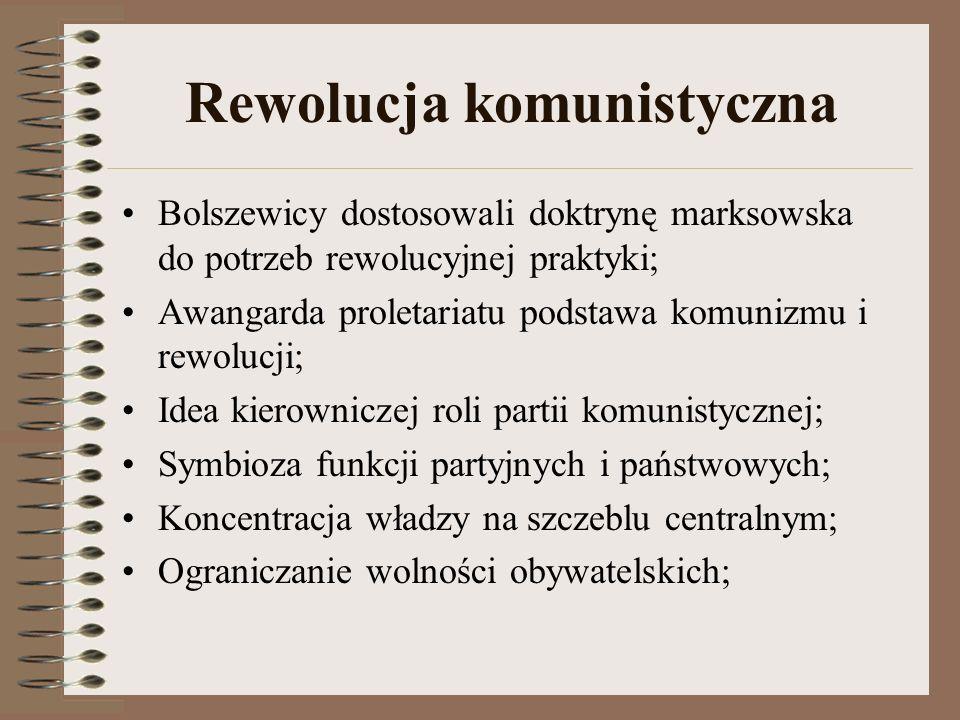 Rewolucja komunistyczna Bolszewicy dostosowali doktrynę marksowska do potrzeb rewolucyjnej praktyki; Awangarda proletariatu podstawa komunizmu i rewol