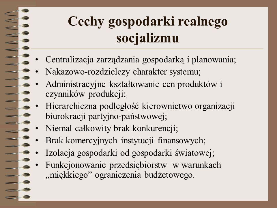 Cechy gospodarki realnego socjalizmu Centralizacja zarządzania gospodarką i planowania; Nakazowo-rozdzielczy charakter systemu; Administracyjne kształ