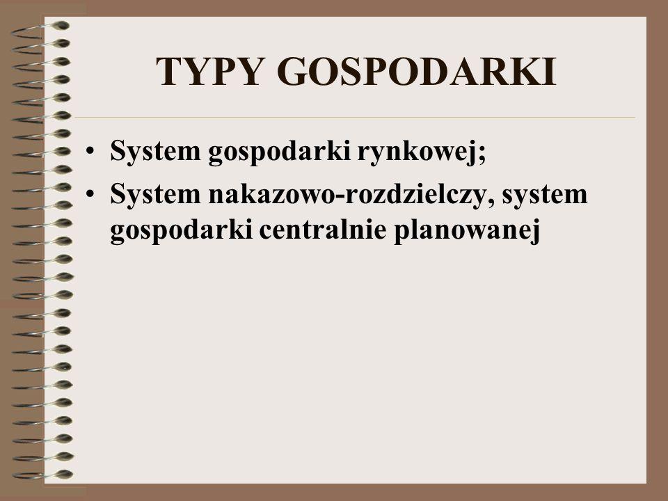 TYPY GOSPODARKI System gospodarki rynkowej; System nakazowo-rozdzielczy, system gospodarki centralnie planowanej