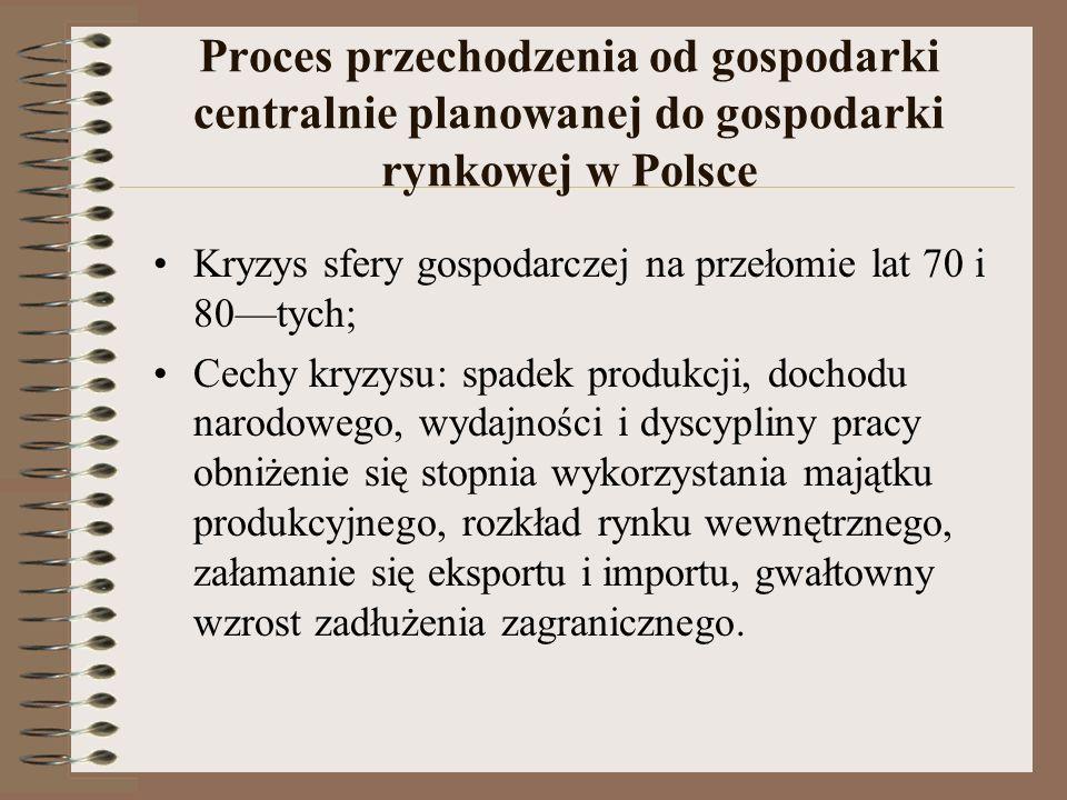 Proces przechodzenia od gospodarki centralnie planowanej do gospodarki rynkowej w Polsce Kryzys sfery gospodarczej na przełomie lat 70 i 80tych; Cechy