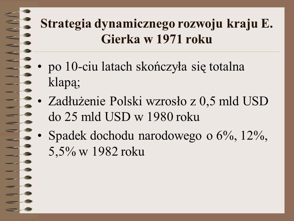 Strategia dynamicznego rozwoju kraju E. Gierka w 1971 roku po 10-ciu latach skończyła się totalna klapą; Zadłużenie Polski wzrosło z 0,5 mld USD do 25