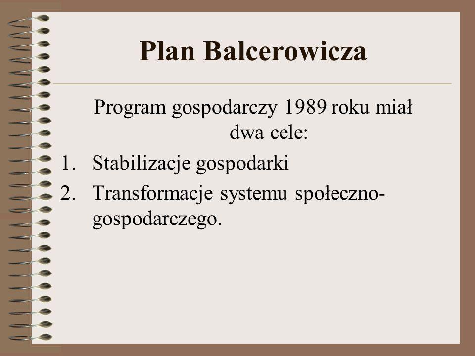 Plan Balcerowicza Program gospodarczy 1989 roku miał dwa cele: 1.Stabilizacje gospodarki 2.Transformacje systemu społeczno- gospodarczego.