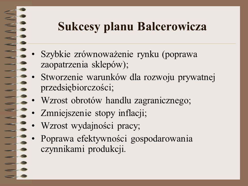 Sukcesy planu Balcerowicza Szybkie zrównoważenie rynku (poprawa zaopatrzenia sklepów); Stworzenie warunków dla rozwoju prywatnej przedsiębiorczości; W