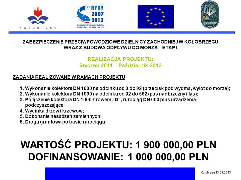 ZABEZPIECZENIE PRZECIWPOWODZIOWE DZIELNICY ZACHODNIEJ W KOŁOBRZEGU WRAZ Z BUDOWĄ ODPŁYWU DO MORZA – ETAP I Kołobrzeg 13.03.2013 WARTOŚĆ PROJEKTU: 1 900 000,00 PLN DOFINANSOWANIE: 1 000 000,00 PLN REALIZACJA PROJEKTU: Styczeń 2011 – Październik 2012 ZADANIA REALIZOWANE W RAMACH PROJEKTU 1.